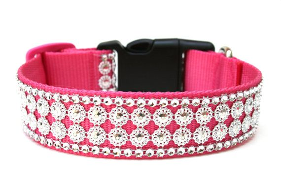 Hey, I found this really awesome Etsy listing at http://www.etsy.com/listing/150110291/rhinestone-dog-collar-125-hot-pink-dog