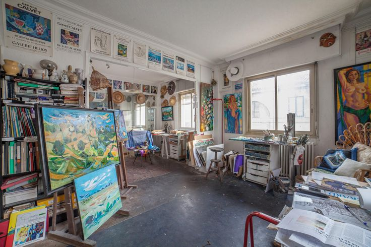 Studio of Gerard Calvet ( Artiste peintre 1926-2017) French Painter  from Montpellier.  Original Photography by Vincent Calvet .