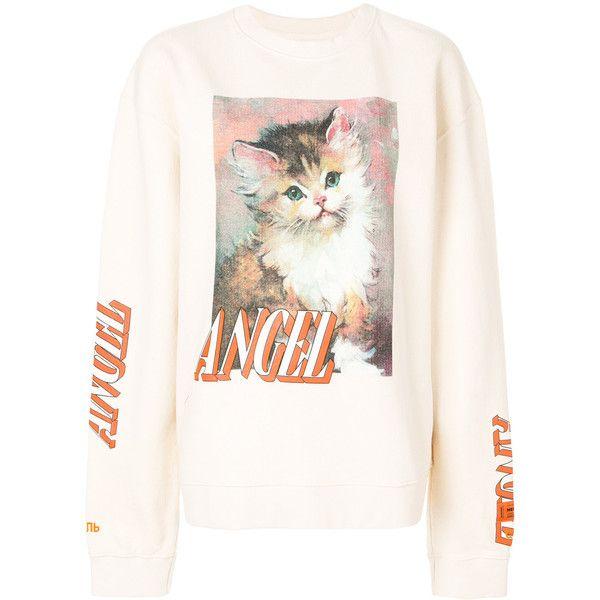 Heron Preston cat print sweatshirt (5.673.795 IDR) ❤ liked on Polyvore featuring tops, hoodies, sweatshirts, white, white top, white sweatshirt, cat print sweatshirt, cat sweatshirt and cat top
