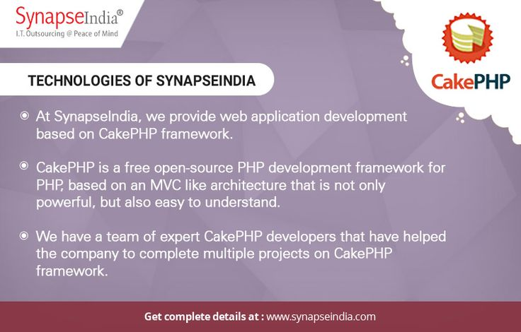 SynapseIndia technologies and services include web application development based on CakePHP framework. We have a team of expert CakePHP developers that have helped the company to complete multiple projects on CakePHP framework.  Read more at: https://synapseindiatechnologies.wordpress.com/2017/05/30/synapseindia-technologies-web-application-development-on-cakephp-framework/
