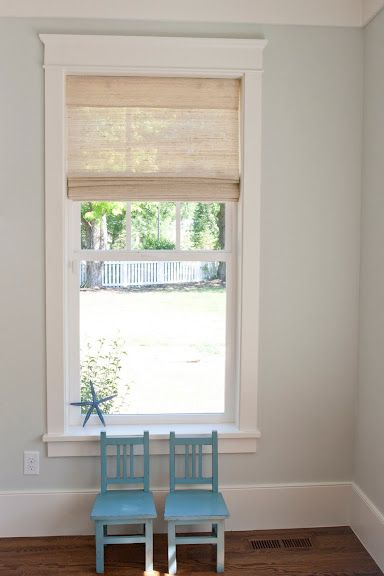Paint Color: Benjamin Moore Healing Aloe. Woodwork looks exactly like ours only painted white. Oh how I want white woodwork.