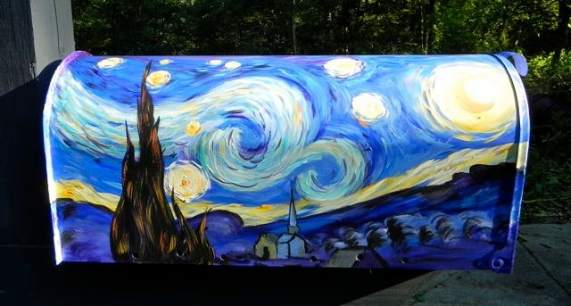 Hand Painted Mailbox with Starry Night Van