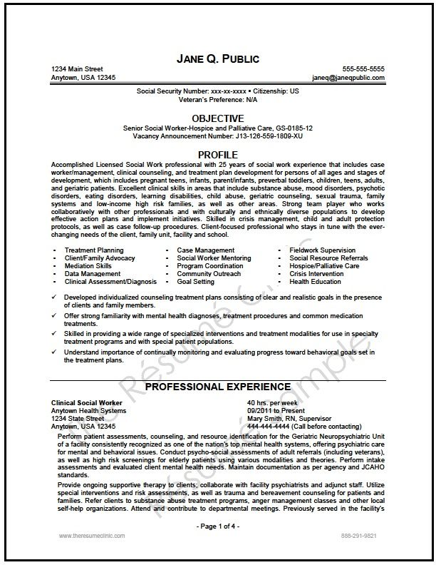 federal social worker resume writer sample Resume writer