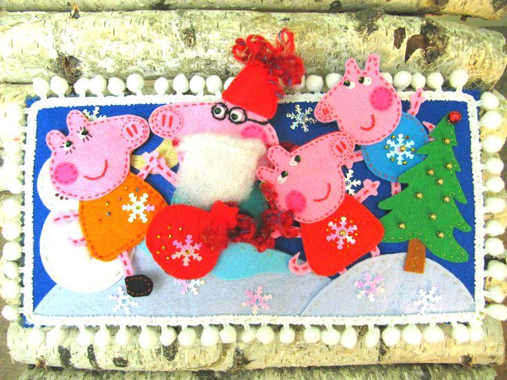 Кукольный театр(пальчиковый) Свинка Пеппа, все детали крепко прошиты, фетр, закрывается книжкой, игрушка из фетра, подарок ребенку, борода-колпак-мешок у папы съемные