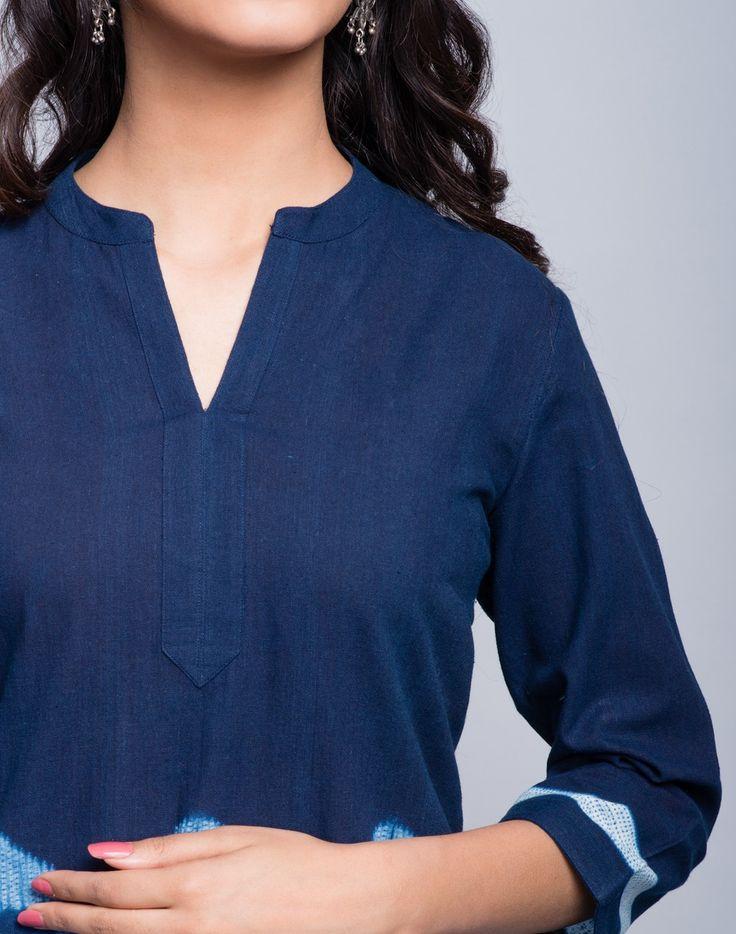 Cotton Placement Shibori Detail Mini Kurta-Indigo: Buy Fabindia Cotton Placement Shibori Detail Mini Kurta-Indigo Online in India. – Fabindia.com