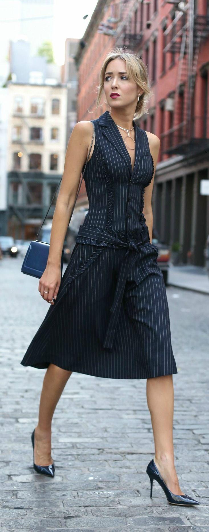 pinstripe drop waist dress, navy patent leather pumps, navy crossbody bag, silver statement necklace {marissa webb, jimmy choo, phillip lim, argento vivo}