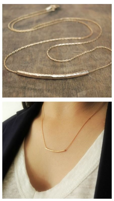 A beautiful, delicate hammered tube necklace. Perfect for layering with more necklaces.