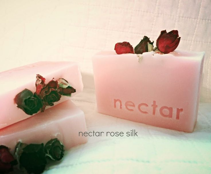 "nectar's Rose Silk handmade soap containing natural Tussah Silk for creaminess and luscious lather and fragranced with a ""True To The Bloom"" fresh rose oil www.nectarbodyandbath.com Made in NZ"