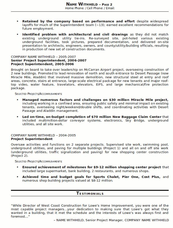 construction superintendent resume sample worker example