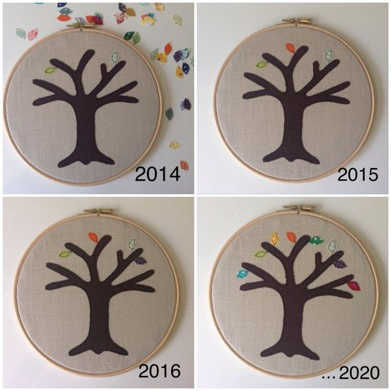 Cotton anniversary gift - add a new leaf each year and watch your tree bloom! By Tailorbirds on Etsy