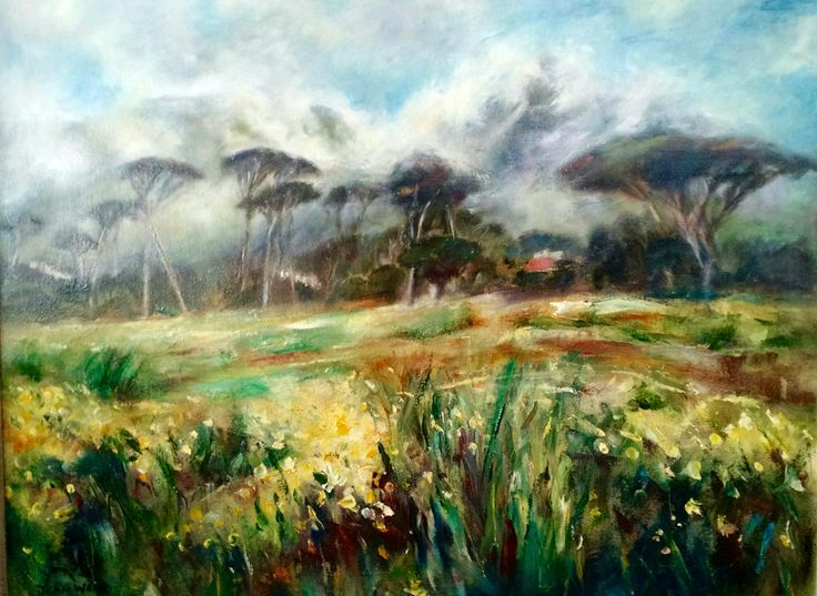 Jean Weir oil painting Table Mountain (windy day from Rondebosch common)