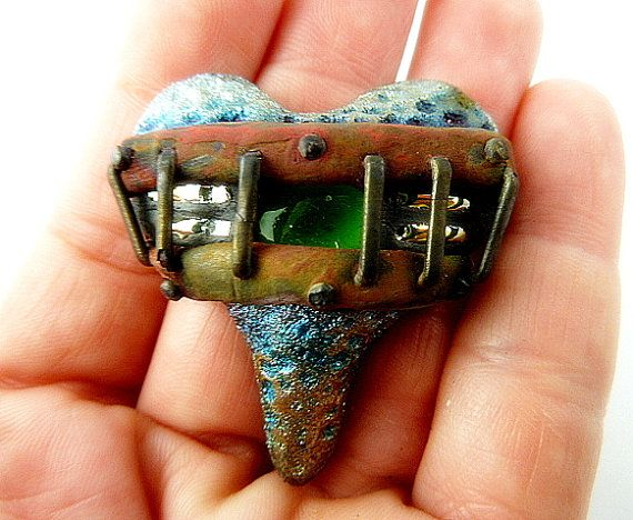 Raku Heart Cabochon Ceramic Jewelry Supply Handmade       by MAKUstudio