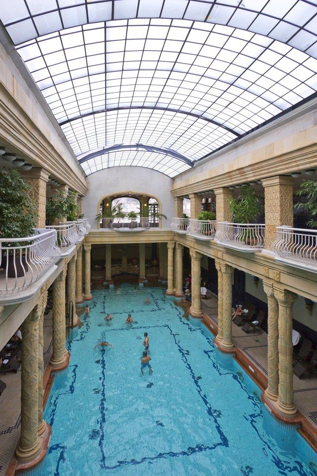 The Gellert Baths, in Budapest, Hungary, feature a 2,650-square-foot indoor swimming pool | archdigest.com