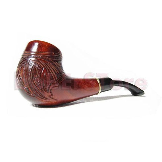 """Collection Wooden Tobacco Pipe.  Wood Hand Carved """"RIO de Janeiro"""" pipe. Exclusive Wooden PIPE - Best Price in FPS"""