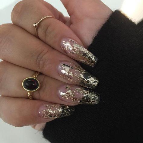Priscilla Ono On Instagram Love My Clear With Gold Foil Nails Priscillaonosalon