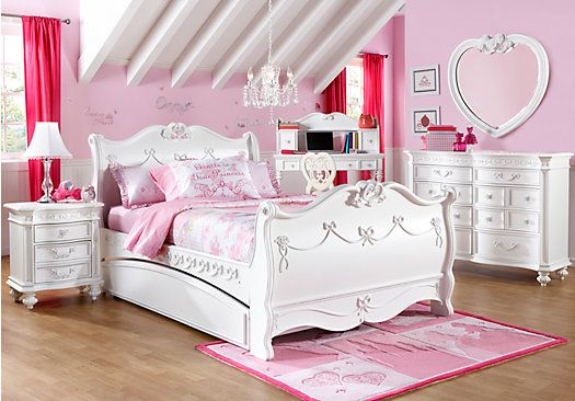 Shop for a Disney Princess White 5 Pc Twin Sleigh Bedroom at Rooms To Go Kids. Find  that will look great in your home and complement the rest of your furniture.