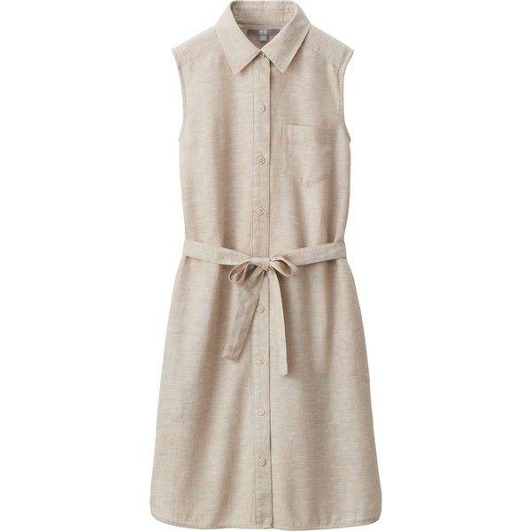 UNIQLO Linen Cotton Sleeveless Dress (96 GTQ) ❤ liked on Polyvore featuring dresses, sleeveless dress, sash belt, uniqlo, sleeveless shirt dresses and pink shirt dress