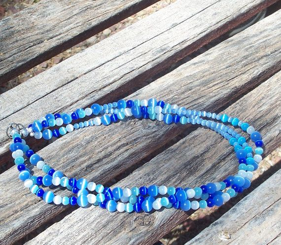 Blue and White Banded Agate Multi Strand Necklace by ButtercupsWhatEvas