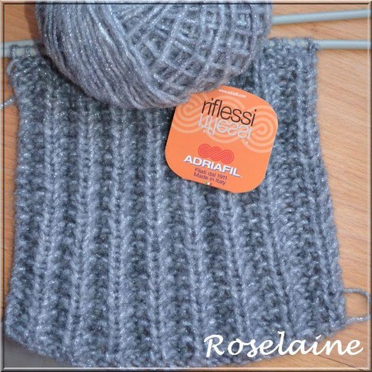 Le point de sillon, un point réversible pour tricoter une écharpe! Le brillant de la laine Riflessi de la marque italienne Adriafil lui donne une touche... - Pascale Jacquemin - Google+