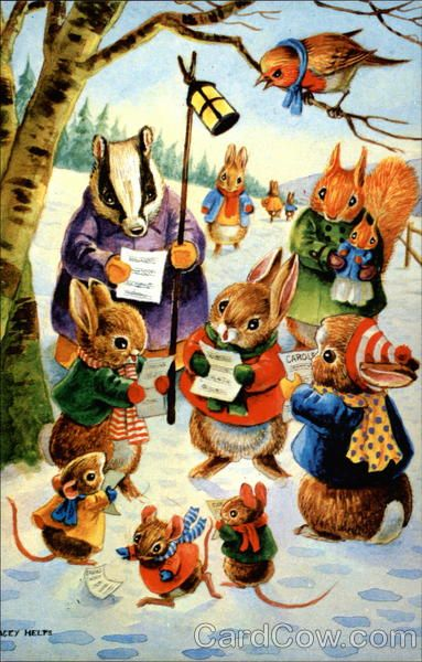 Racey postcard | Various Small Animals Caroling Racey Helps Dressed Animals