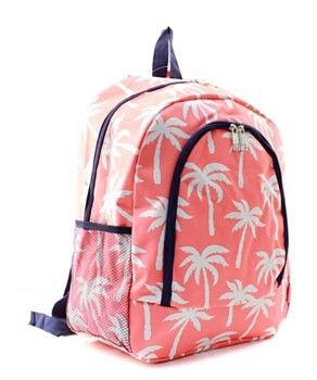 Palm Tree Print Large Backpack Coral and White with Navy Trim