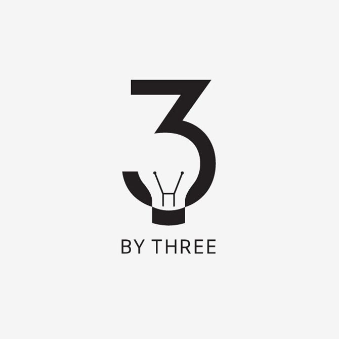 i like this design because it is an light bulb inside of a 3 and at the bottom it says by 3 so 3 by 3