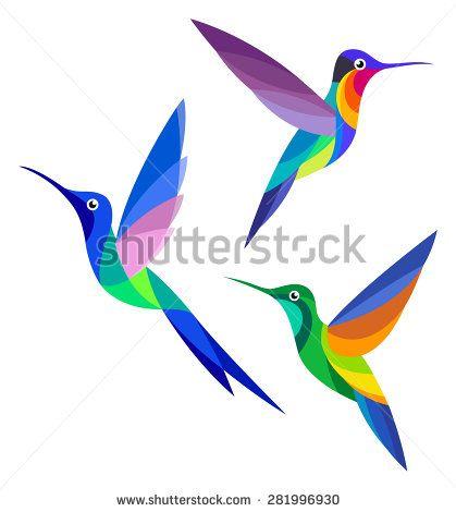 Stylized Birds - Hummingbirds