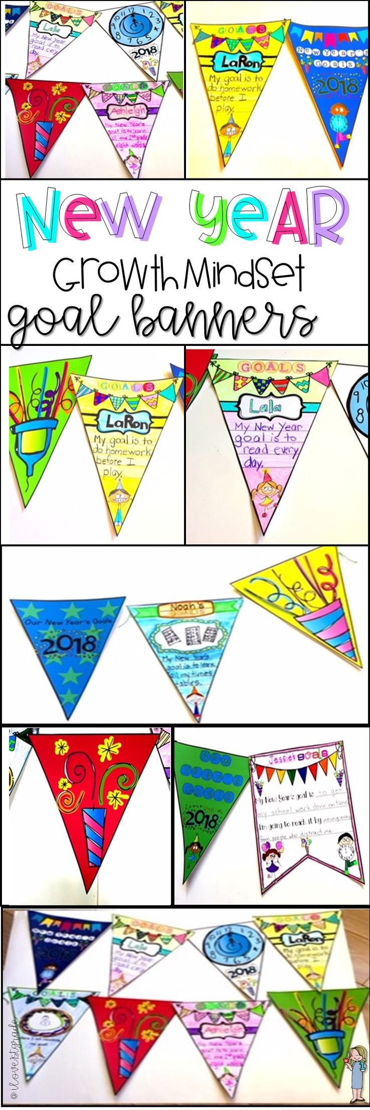 New Years 2018  Looking for an engaging way to begin the New Year? If so, try these banners, perfect for a growth mindset! These banners are designed as a way to foster a Growth Mindset culture in your classroom. Students write or draw their goals for the New Year and decorate the banners. String them up along with the 7 decorative banners and hang them in your classroom. They serve as a great reminder for students goals!