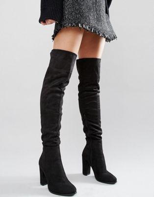 Daisy Street Black Heeled Over The Knee Boots