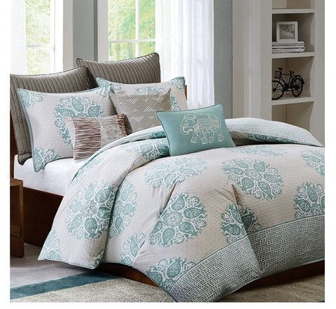Master Bedroom Ideas   Mirna Turquoise And Grey Comforter Set