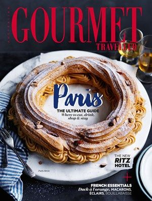 Designed to resemble the wheel of a bicycle, this classic was created to celebrate the Paris-Brest cycling race. Ours is filled with a roasted almond crème pâtissière to complement the crisp choux pastry. A simple almond praline would make a lovely addition.
