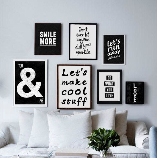 A3 Typography Poster quote print Black & White by blackandtypeshop