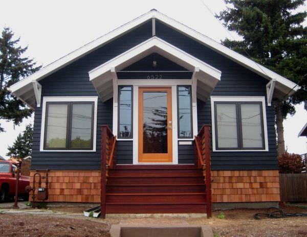 Navy paint, Orange Door + wood accents--Soot {body} & Super White {trim} by Benjamin Moore & Sikkens Cetol 1 translucent stain in Cedar {cedar shingles}