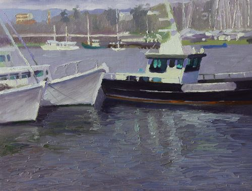 """Tamar Marine Boats, Launceston"" By Charmaine P Jackson Oil on 6""x8"" linen"