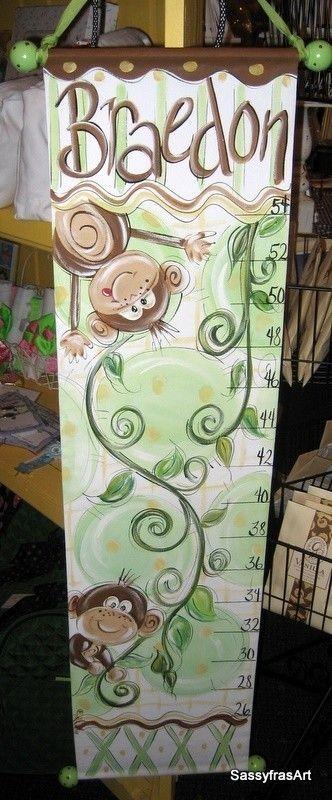 Tabla de crecimiento mono pintado mano por SassyfrasDesignz en Etsy