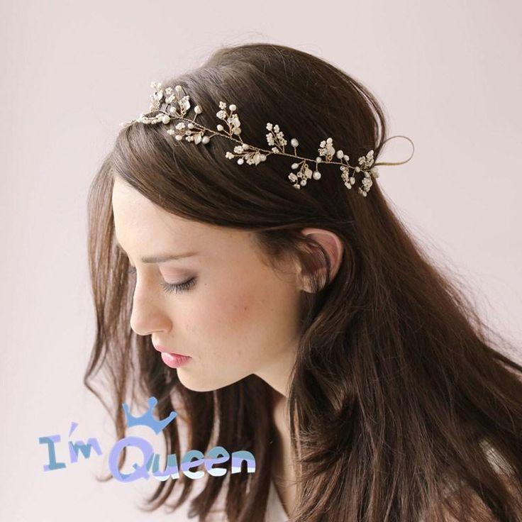 Gold Butterfly Hair Vine Pearl Crystal Headdress Wedding