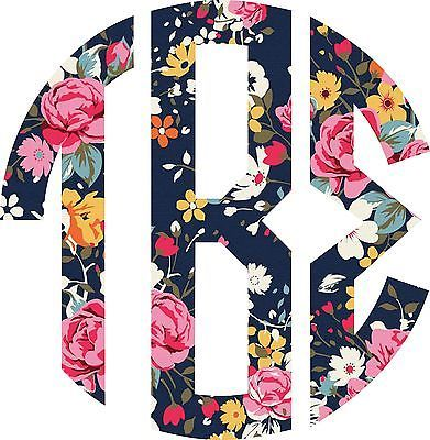 "Tau Beta Sigma 3"" Monogram in Floral Print Sticker"
