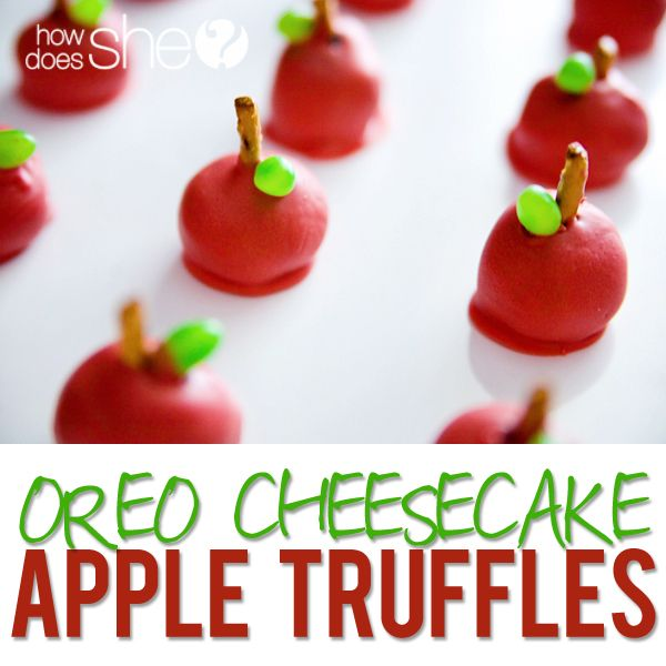 Food and Drink. Amazing Oreo Cheesecake Apple Truffles! The cutest little treats to give as a Teacher Appreciation gift or for a teacher's party! Only FOUR ingredients needed!! Recipe at HowDoesShe.com