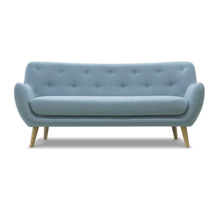 Canapé 3 places esprit seventies bleu ciel Bleu d'eau - Poppy Meuble - Les canapés en tissu - Canapés et banquettes - Canapés et fauteuils - Décoration d'intérieur - Alinéa