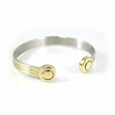 Unisex Bioflow bangle with a silver groove detail combined with gold to create a two tone effect.