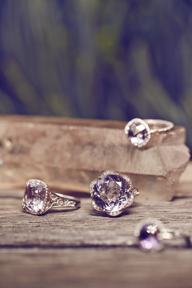A close-up look at the amethyst rings from the Tacori Blushing Rose and Lilac Blossoms collections.