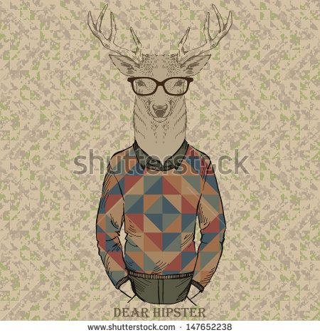 cute fashion Hipster dear, vector illustration of dear portrait - stock vector