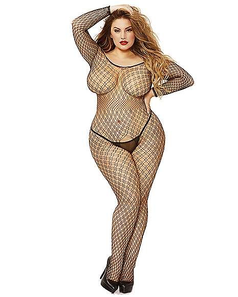 76d4affa8cc Off The Shoulder Fishnet Plus Size Crotchless Bodystocking - Spencer's