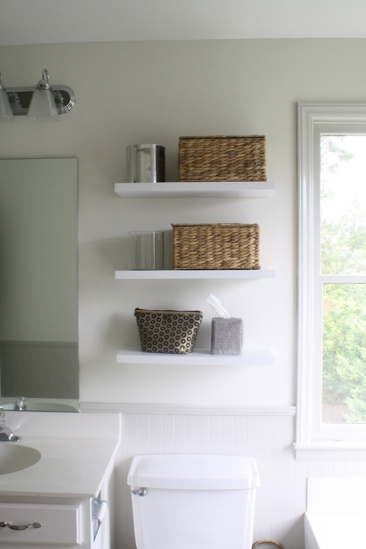 Bathroom floating shelves above toilet - Floating Shelves