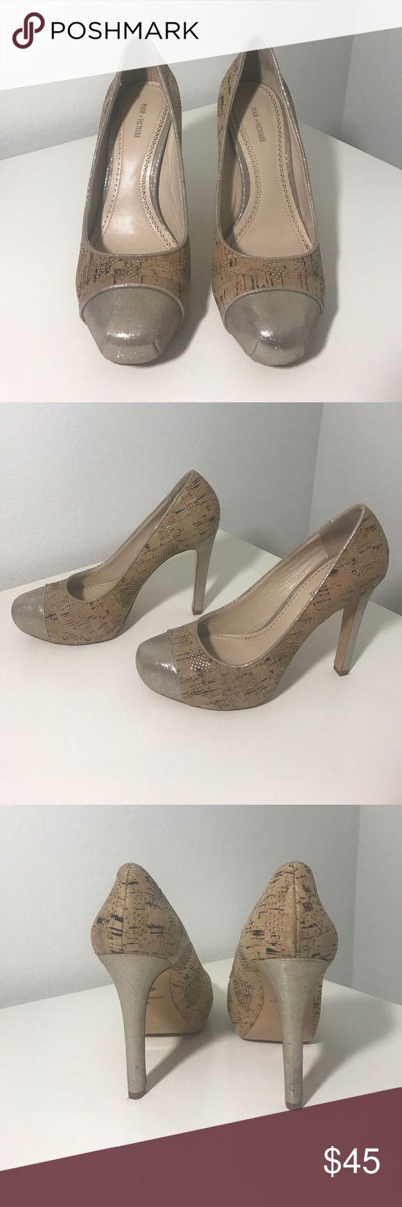 Pour La Victoire cork metallic heels Size 9. Normal wear and tear. Price firm unless bundled 1049. Pour La Victoire Shoes Heels