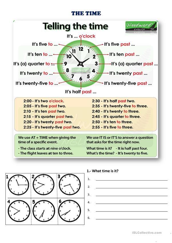 Free Esl Efl Printable Worksheets And Handouts Efl Teaching Kids Efl Teaching Telling Time Esl