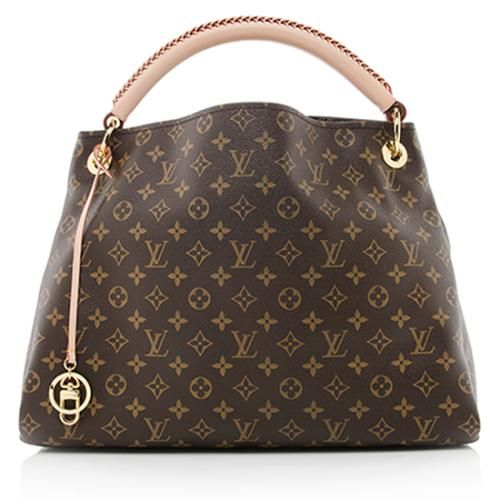 A classic Louis Vuitton shoulder bag in traditional Monogram canvas with natural leather trim and golden brass hardware. Details include a woven handle, open top, and fully lined interior with six open pockets and one zip pocket.