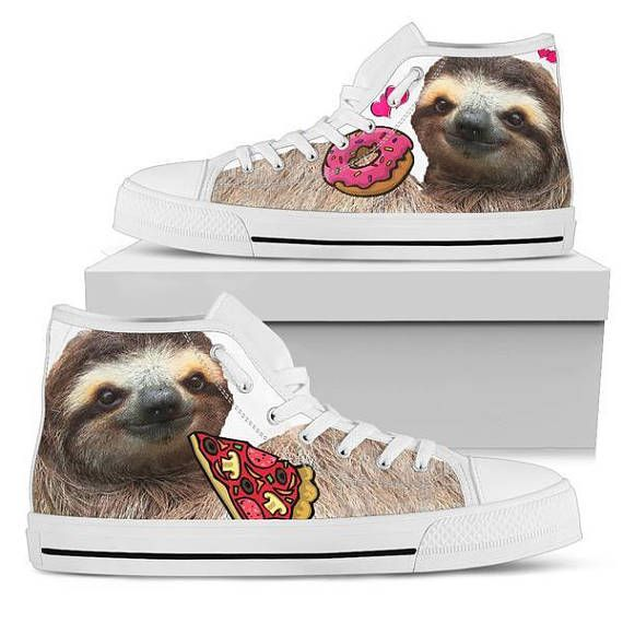 Custom Womens Fashion DIY Image Sloth Animal Top Canvas Sneaker Shoes