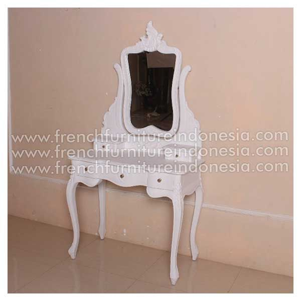Order Rochella Dressing Mirror 1 From French Furniture Suppliers. We are reproduction 100 % exporter Furniture manufacture with French furniture style,vintage furniture style,shabby chic style and high quality Finishing. This Dresser Mirror Table is made from mahogany wood with good quality and treatment process and the design has a strong construction, suitable to your home. #SuppliersFurniture #ExporterFurniture #JeparaFurniture #FrenchFurniture #CustomFurniture