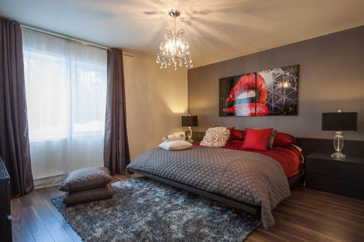 Camera da letto nelle tonalità rosso e grigio n.03